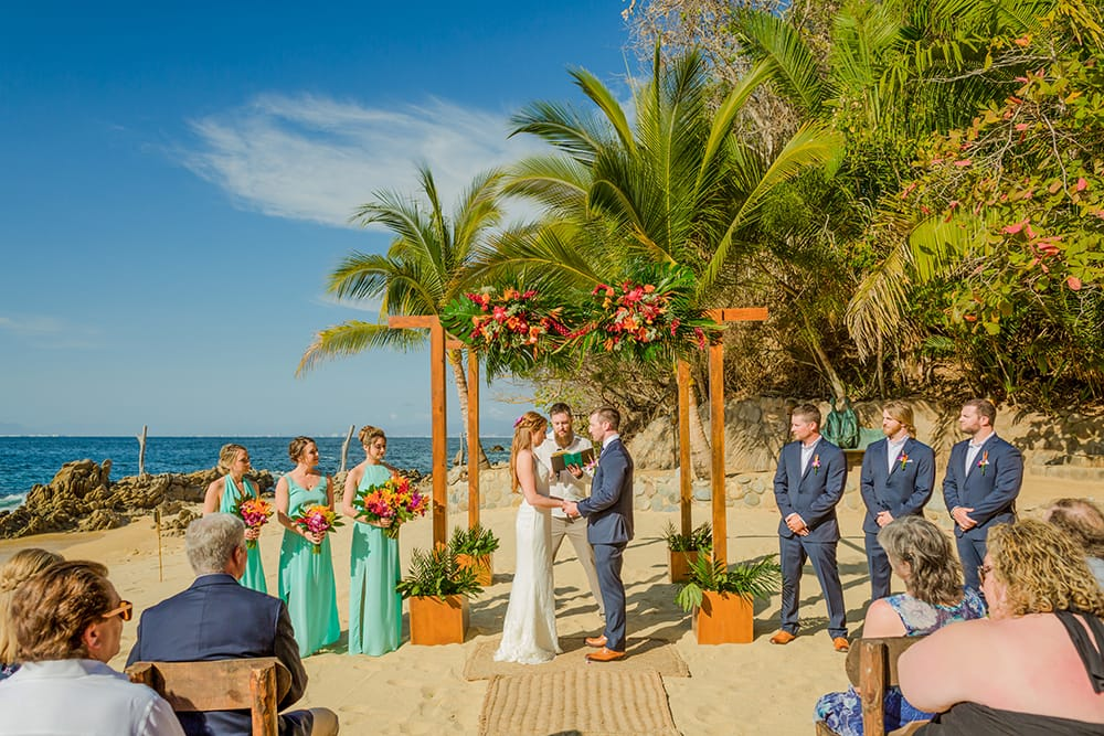 Simple and bright wedding ceremony a private beach destination wedding in Mexico