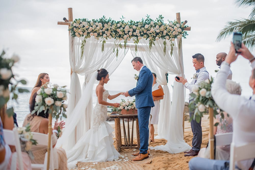 Oceanside wedding ceremony during destination wedding in Mexico