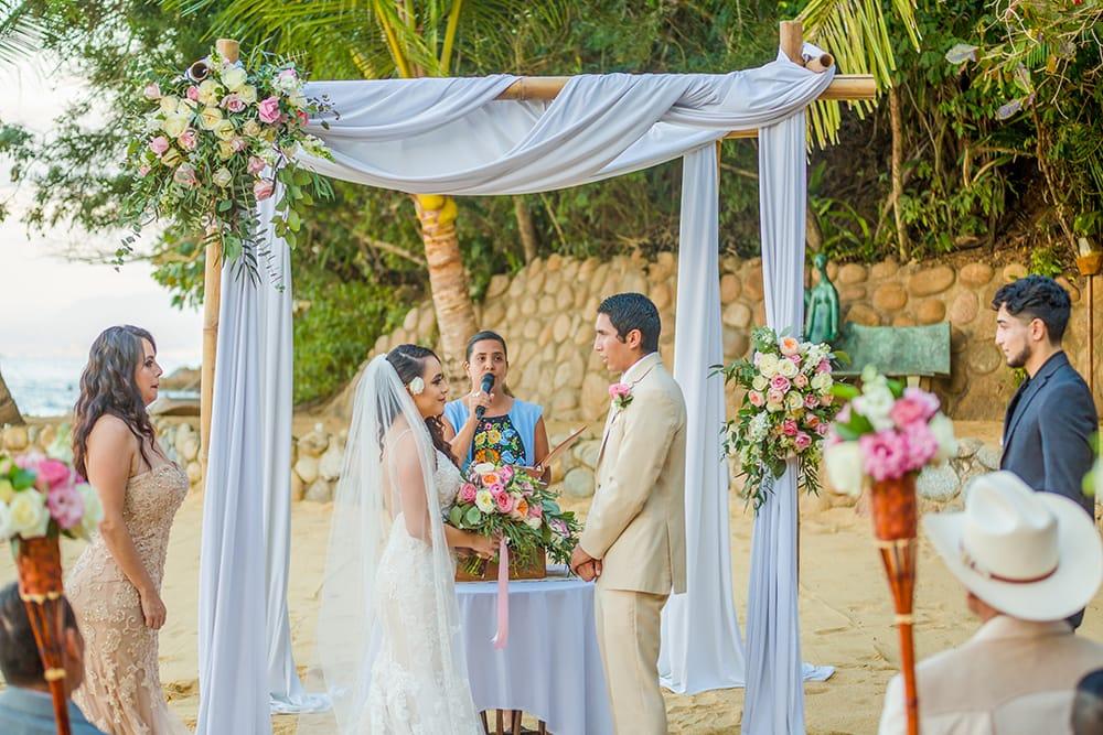 Destination wedding ceremony on private beach in Mexico