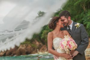 Bride and groom share and intimate moment during their first look at their destination wedding coordinated by Adventure Weddings