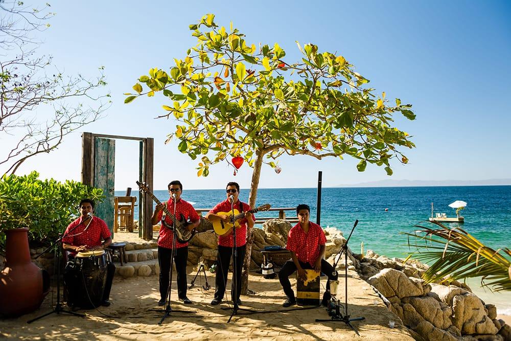 Live wedding ceremony music at beach destination wedding by Adventure Weddings