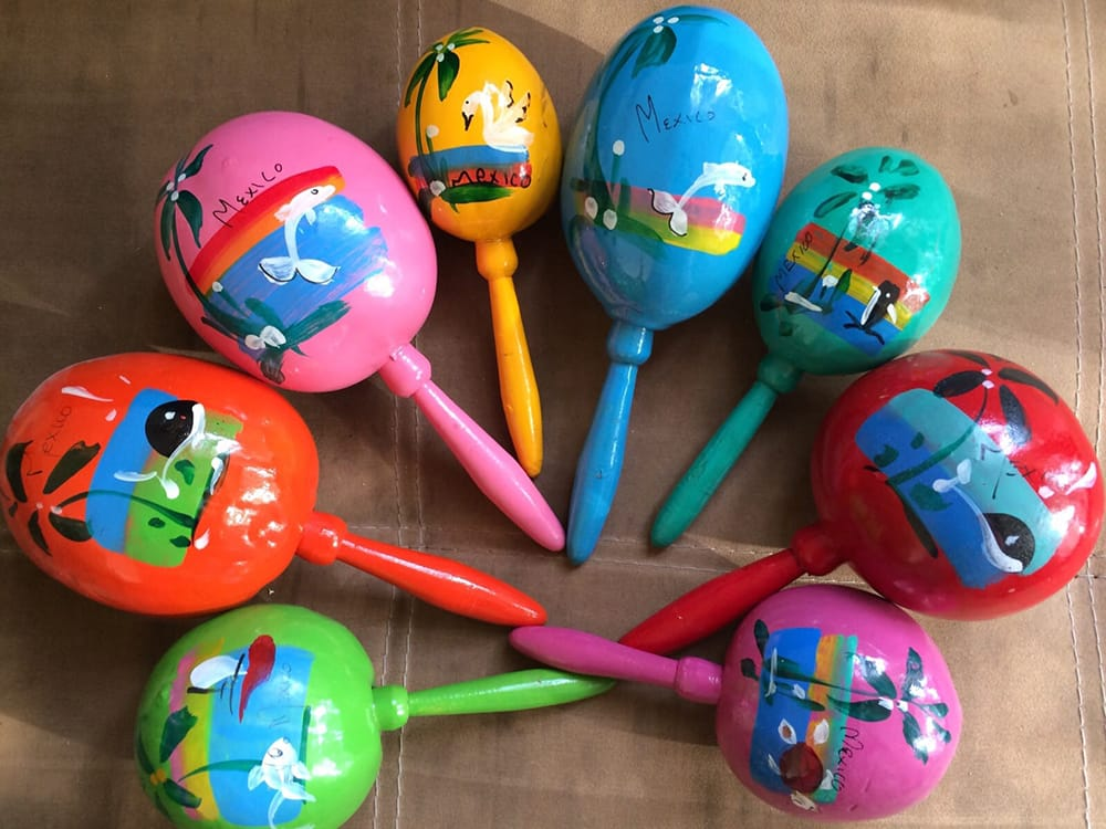 Hand painted maracas for wedding favours at destination wedding in Mexico coordinated by Adventure Weddings