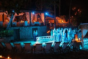 Guests dancing during the late night party at destination wedding in Mexico