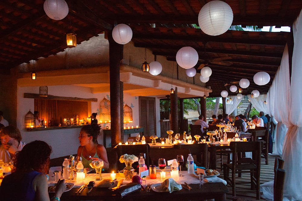 Candelit wedding reception in private beach pavilion in Mexico
