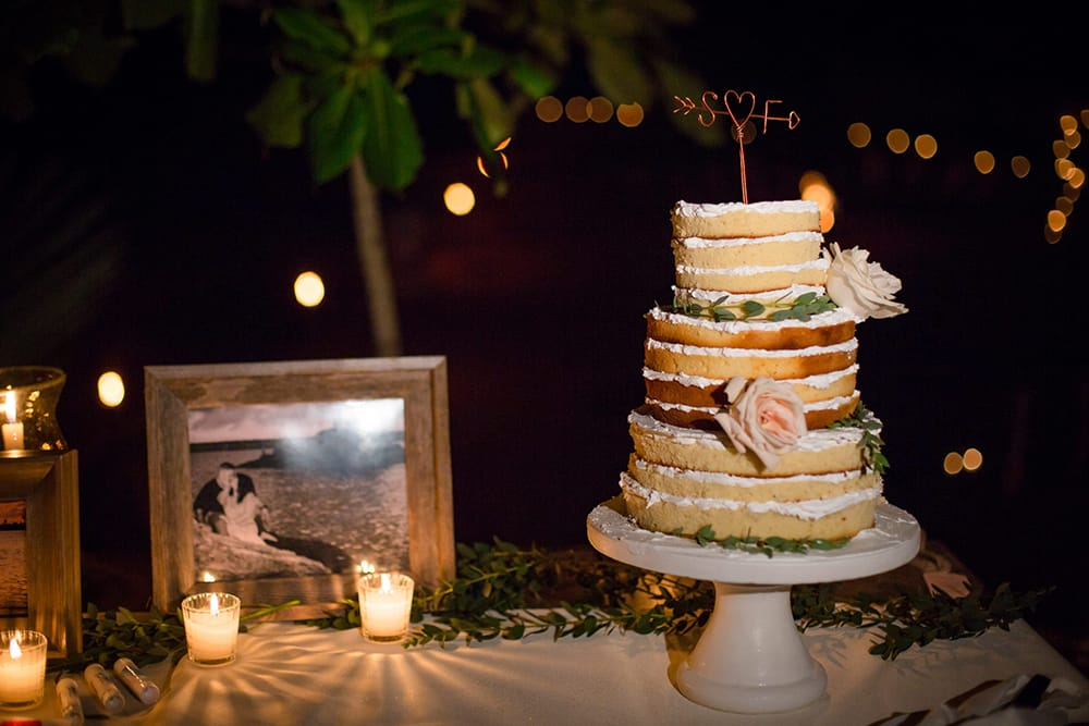 Simple rustic wedding cake for beach wedding by Adventure Weddings