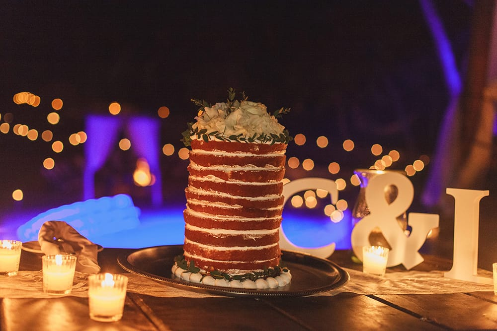 Naked wedding cake at destination wedding by Adventure Weddings