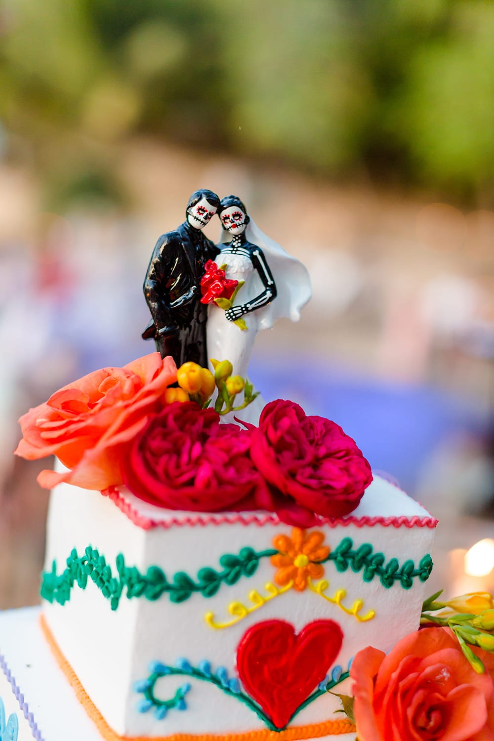 Mexican themed tiered wedding cake by Adventure Weddings