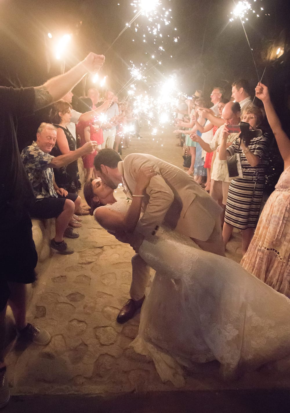 Sparkler sendoff for destination wedding in Mexico