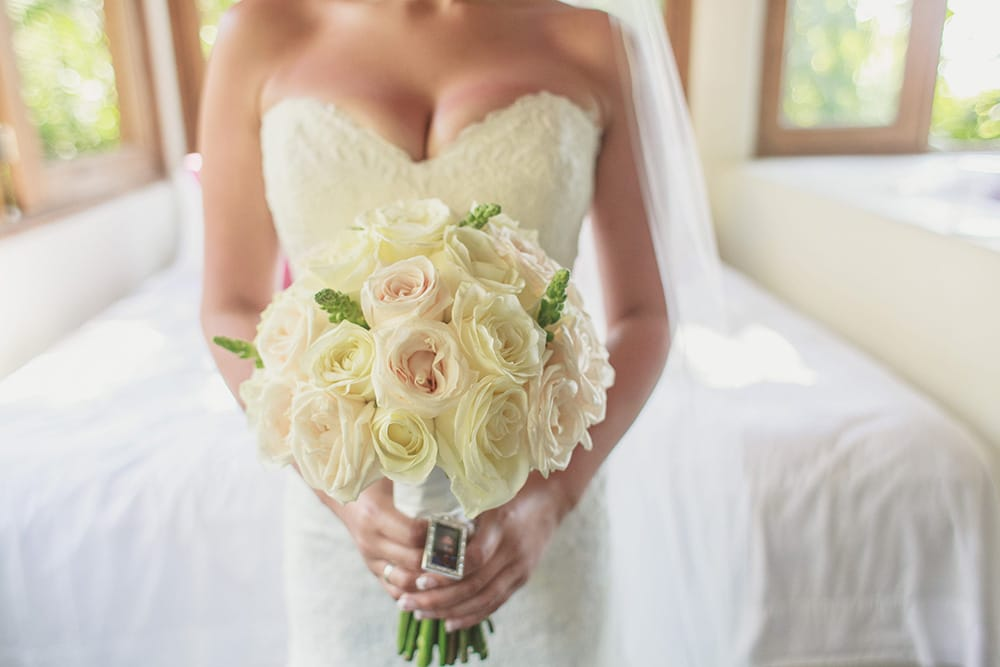 Classic white bridal bouquet by Adventure Weddings' destination wedding florist