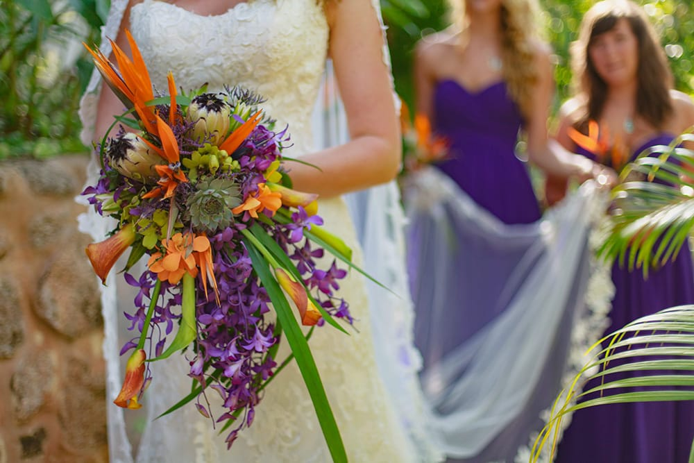 Tropical flower wedding bouquet by Adventure Weddings' destination wedding florist