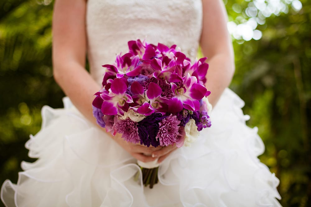 Simple and bright tropical wedding bouquet by Adventure Weddings' destination wedding florist