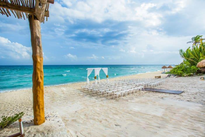 Cancun wedding ceremony setup