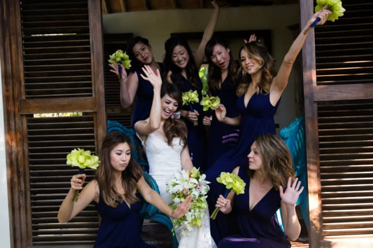 Bridal Party Celebrating at Adventures' Wedding Hospitality Suite
