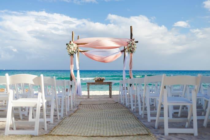 Beach Wedding Ceremony Decor for Mexico Destination Wedding