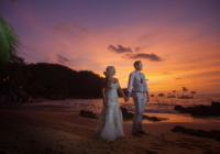Bride and Groom at Beach Destination Wedding