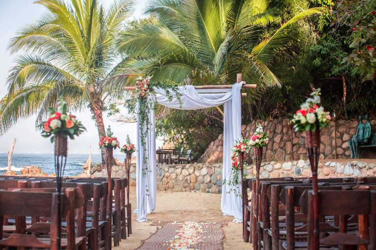 Beach Wedding Ceremony Planned for the Perfect Time of Day During Destination Wedding in Mexico with Adventure Weddings