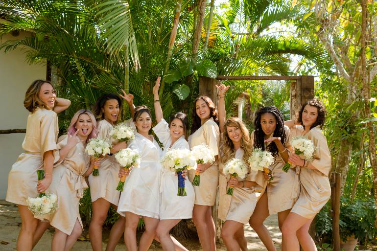 Bridal Party Getting Ready for Destination Wedding with Adventure Weddings