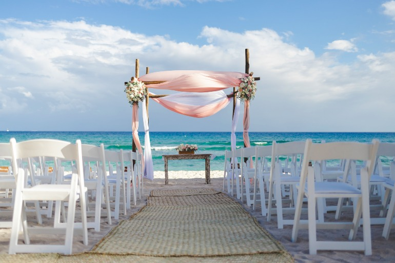 Beach Wedding Ceremony Set Up During the Ideal Time for a Destination Wedding in Mexico by Adventure Weddings