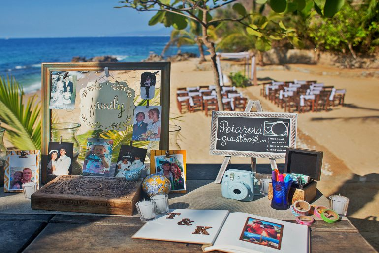 Welcome Table at Destination Wedding Hosted by Adventure Weddings During Ideal Wedding Season
