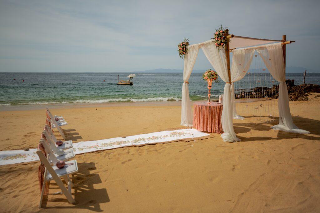 Wedding ceremony setup at Las Caletas