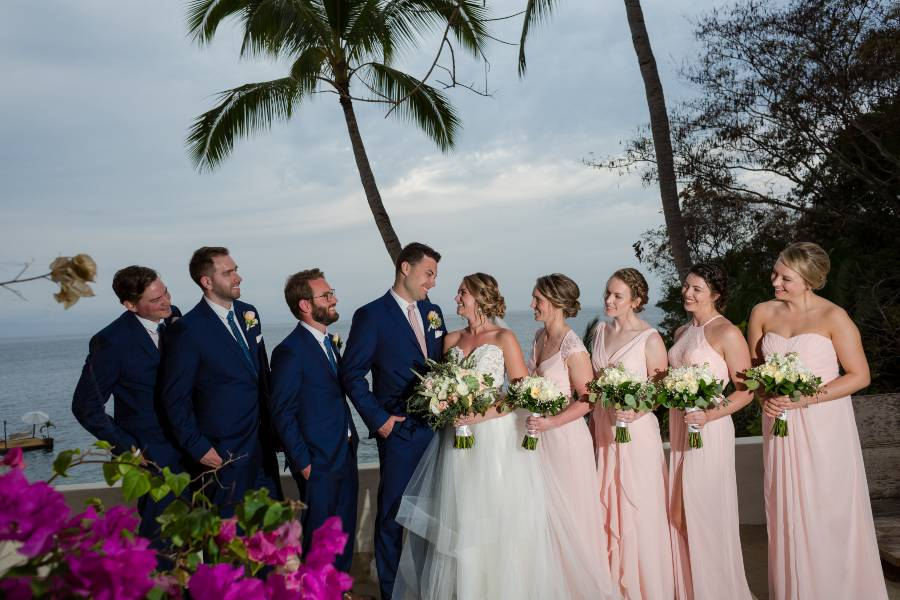Bridal Party Photos During Sunset during Premier Package Wedding