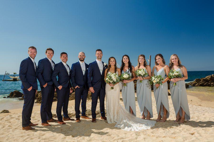Bridal Party Photo on the Beach at Las Caletas Destination Wedding Venue